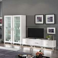 Hazel Living Room Set In White High Gloss And Chrome With LED