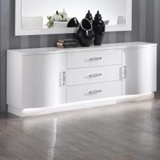 Hazel Sideboard In White High Gloss With Flat Base And LED