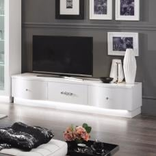 Hazel TV Stand In White High Gloss With Flat Base And LED