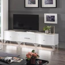 Hazel TV Stand In White High Gloss With Chrome Legs And LED
