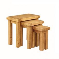Heaton Wooden Nest Of 3 Tables In Solid Oak