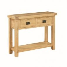 Heaton Wooden Console Table In Solid Oak With 2 Drawers