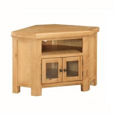 Heaton Wooden Corner TV Stand In Solid Oak With 2 Doors