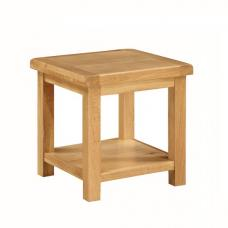 Heaton Wooden End Table In Solid Oak With Undershelf