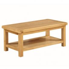 Heaton Wooden Large Coffee Table In Solid Oak With Undershelf