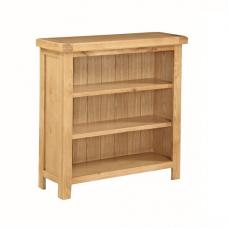 Heaton Wooden Low Wide Bookcase In Solid Oak With 3 Compartments