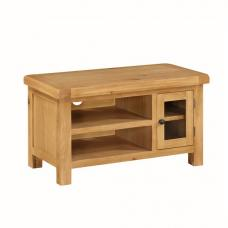 Heaton Wooden Small TV Stand In Solid Oak With 1 Door