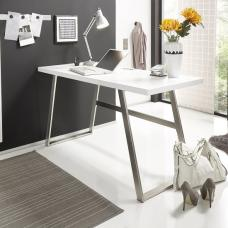 Helena Computer Desk Rectangular In Matt White With Metal Frame