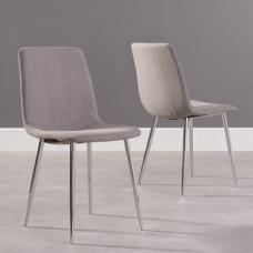 Hemlock Fabric Dining Chairs In Grey In A Pair