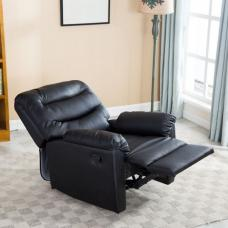 Henrick Modern Recliner Chair In Black Faux Leather