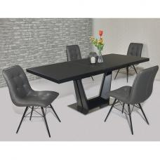 Henry Glass Extendable Dining Table Matt Black 6 Savoy PU Chairs