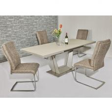 Henry Glass Extendable Dining Table Matt Cream 6 Cleo Chairs