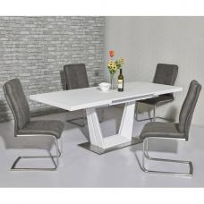 Henry Glass Extendable Dining Table Matt White 6 Cleo Chairs