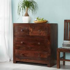 Henzler Wooden Drawers Chest In Dark WIth 4 Drawers