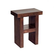 Henzler Wooden H Shape Side Table In Dark With Shelf