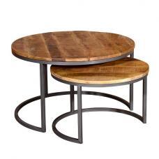 Hexham Wooden Coffee Tables Set In Rustic Hand Finished Mango