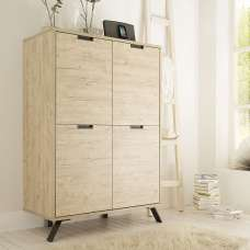 Heyford Wooden Storage Cabinet In Sherwood Oak With 4 Doors