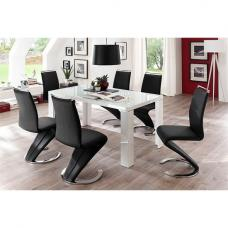 Tizio Glass Top Dining Table In High Gloss With 6 Black Chairs
