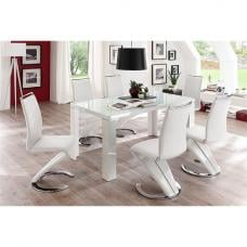 Tizio Glass Top Dining Table In High Gloss With 6 White Chairs