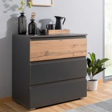 Hilary Chest Of Drawers In Anthracite And Oak With 3 Drawers