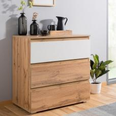 Hilary Chest Of Drawers In Oak And White With 3 Drawers