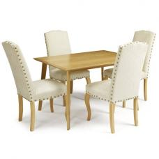 Wilmington Dining Table Large In Oak With 6 Madeline Chairs