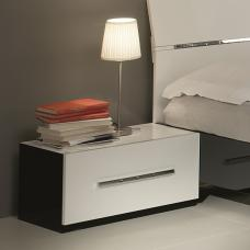 Hilton Low Bedside Cabinet In Black And White High Gloss