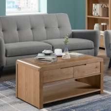 Holborn Wooden Coffee Table Rectangular In Oak With 1 Drawer