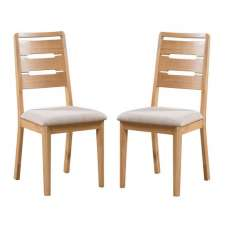 Holborn Wooden Dining Chair In Oak Finish In A Pair