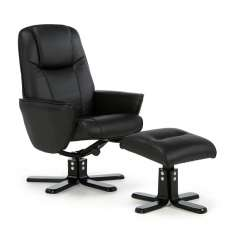 Hollins Contemporary Recliner Chair In Black Faux Leather