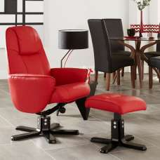 Hollins Contemporary Recliner Chair In Red Faux Leather