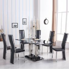 Holly Glass Dining Table In Black With 4 Collete Chairs