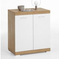 Holte Compact Sideboard In Antique Oak And Glossy White