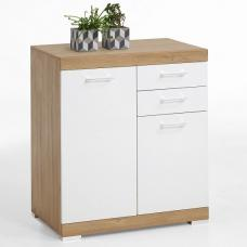 Holte Sideboard In Antique Oak And Glossy White With 2 Drawers