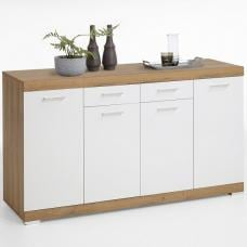 Holte Wooden Sideboard In Antique Oak And Glossy White