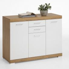 Holte Wooden Sideboard Small In Antique Oak And Glossy White