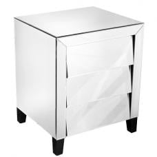 Horizon Mirrored Bedside Cabinet With 3 Drawers And Black Feet