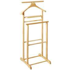 Dual Rail Wooden Valet Stand in natural