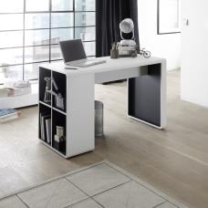 Houston Computer Desk In White And Anthracite With Shelving