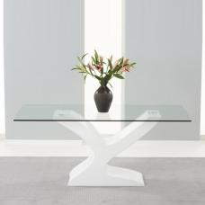 Houston Dining Table In Clear Glass And White High Gloss Base