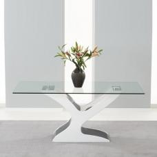 Houston Dining Table In Clear Glass With White Black Gloss Base