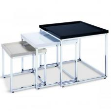 Howard Nest Of Tables In White Black And Beige High Gloss