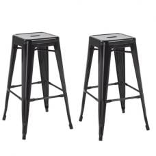 Hoxton Metal Stackable Bar Stool In Black in A Pair