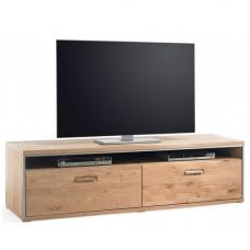 Huxley Wooden Wide TV Stand In Bianco Oak With 2 Drawers