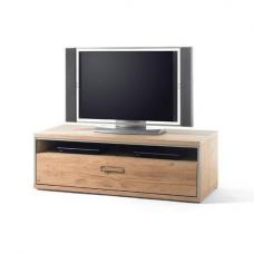 Huxley Wooden Low TV Cabinet In Bianco Oak With 1 Drawer