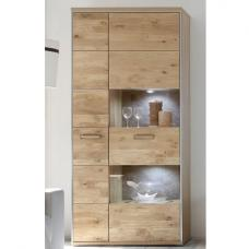 Huxley Wooden Display Cabinet In Bianco Oak With LED