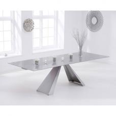 Hygena Extending Glass Dining Table In Light Grey And Metal Legs