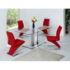 Ice Glass Dining Table In Clear With 6 Dining Chairs In Red