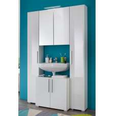 Impulse Bathroom Set In White With High Gloss Fronts And Lights