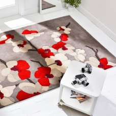 Infinite Blossom Oblong Red Rug